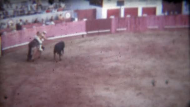 horse take violent blows from bull in matador ring