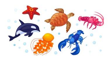 Sea ocean underwater animals. Different sea animals fish of seafood collection sea turtle, killer whale, lobster, starfish, jellyfish, lobster. Sea life, marine animals cartoon vector icon
