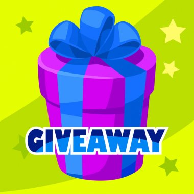 Giveaway winner gift. Free give away wrapped gift box with ribbons template. Giveaways post gift, winner reward banner, quiz posters, way of promotion, advertising in social media vector illustration icon