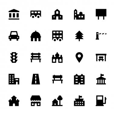 City Elements Vector Icons