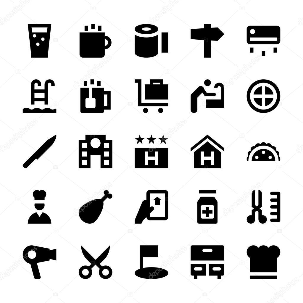 Hotel Services Vector Icons 2 Stock