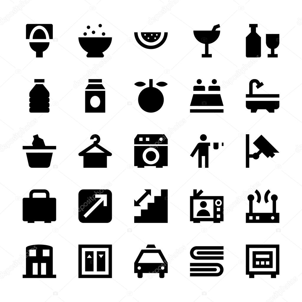Hotel Services Vector Icons 5 Stock