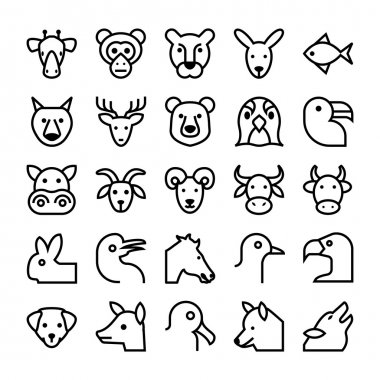 Animals and Birds Vector Icons 3