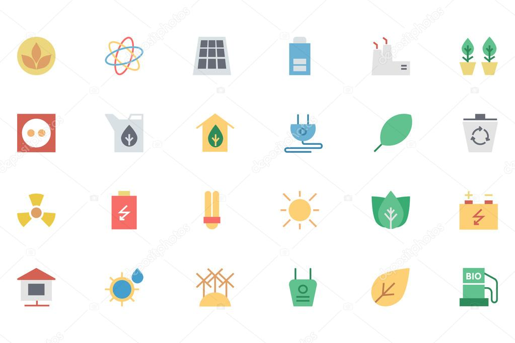 Ecology Colored Vector Icons 1