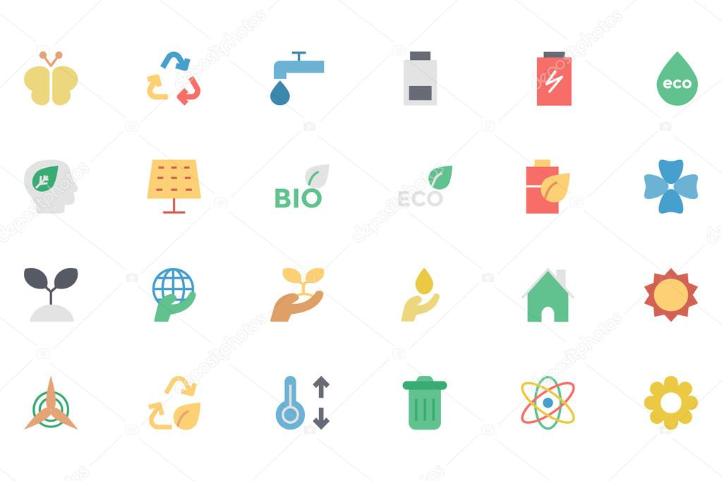 Ecology Colored Vector Icons 2