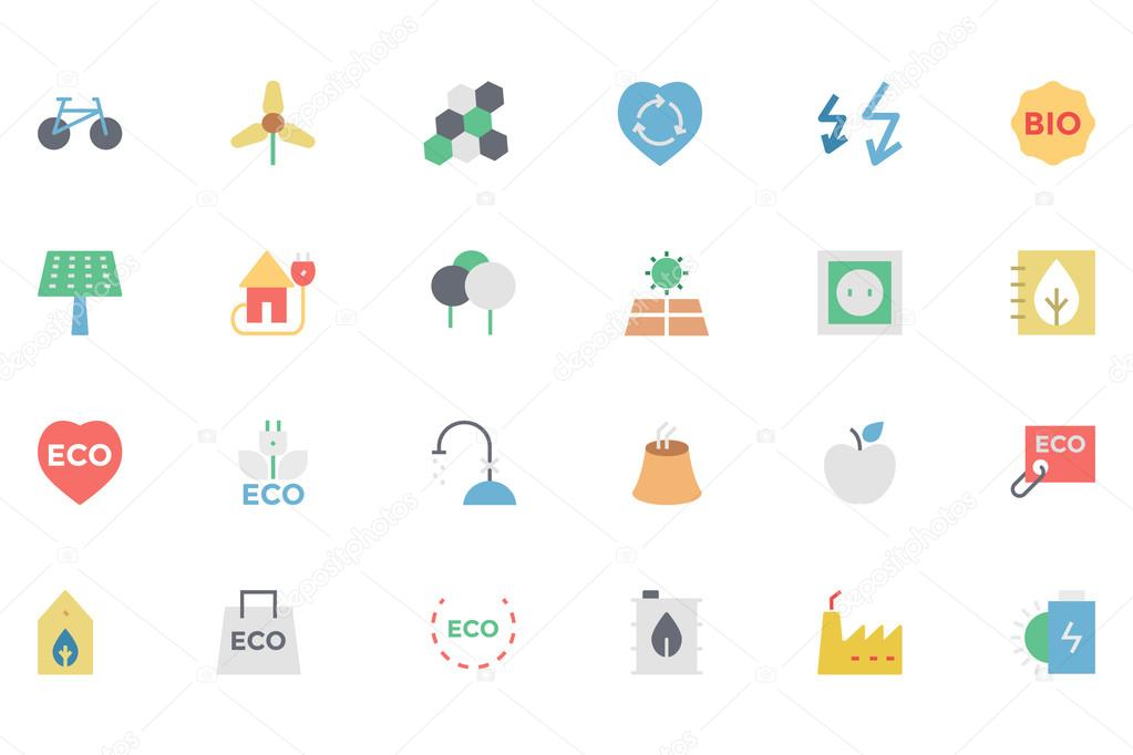 Ecology Colored Vector Icons 5