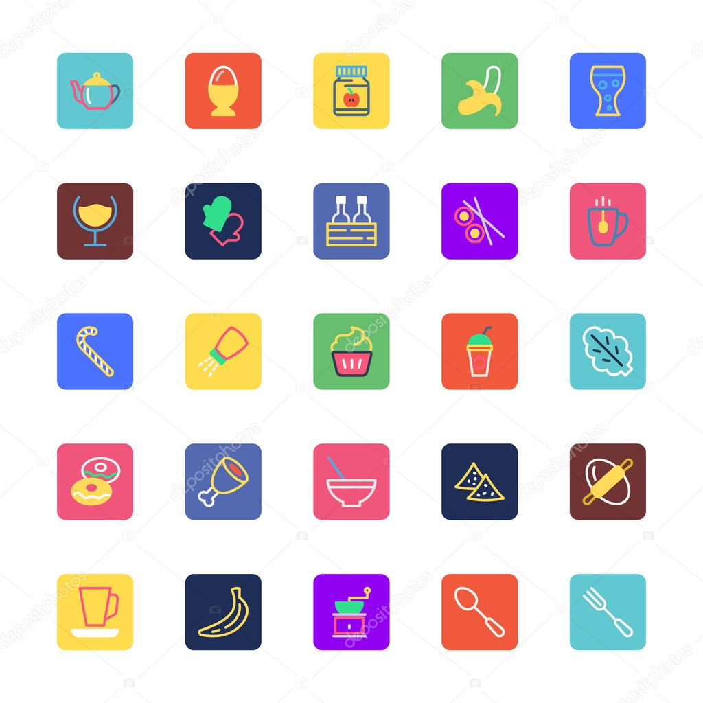 Food, Drinks, Fruits and Vegetables Colored Vector Icons 5