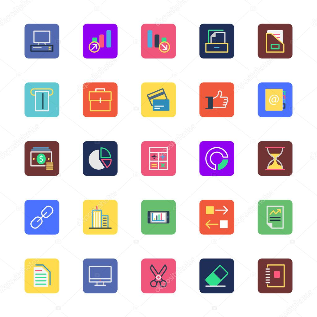 Business, Office and Marketing Colored Vector Icons 6
