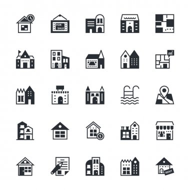 Real Estate Colored Vector Icons 2
