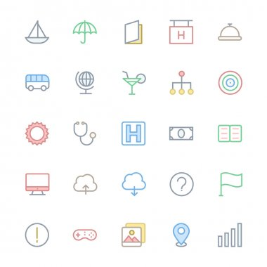 User Interface Colored Line Vector Icons 9