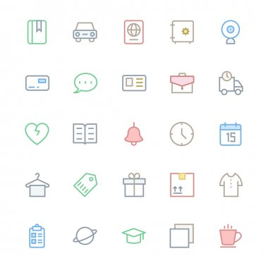 User Interface Colored Line Vector Icons 17
