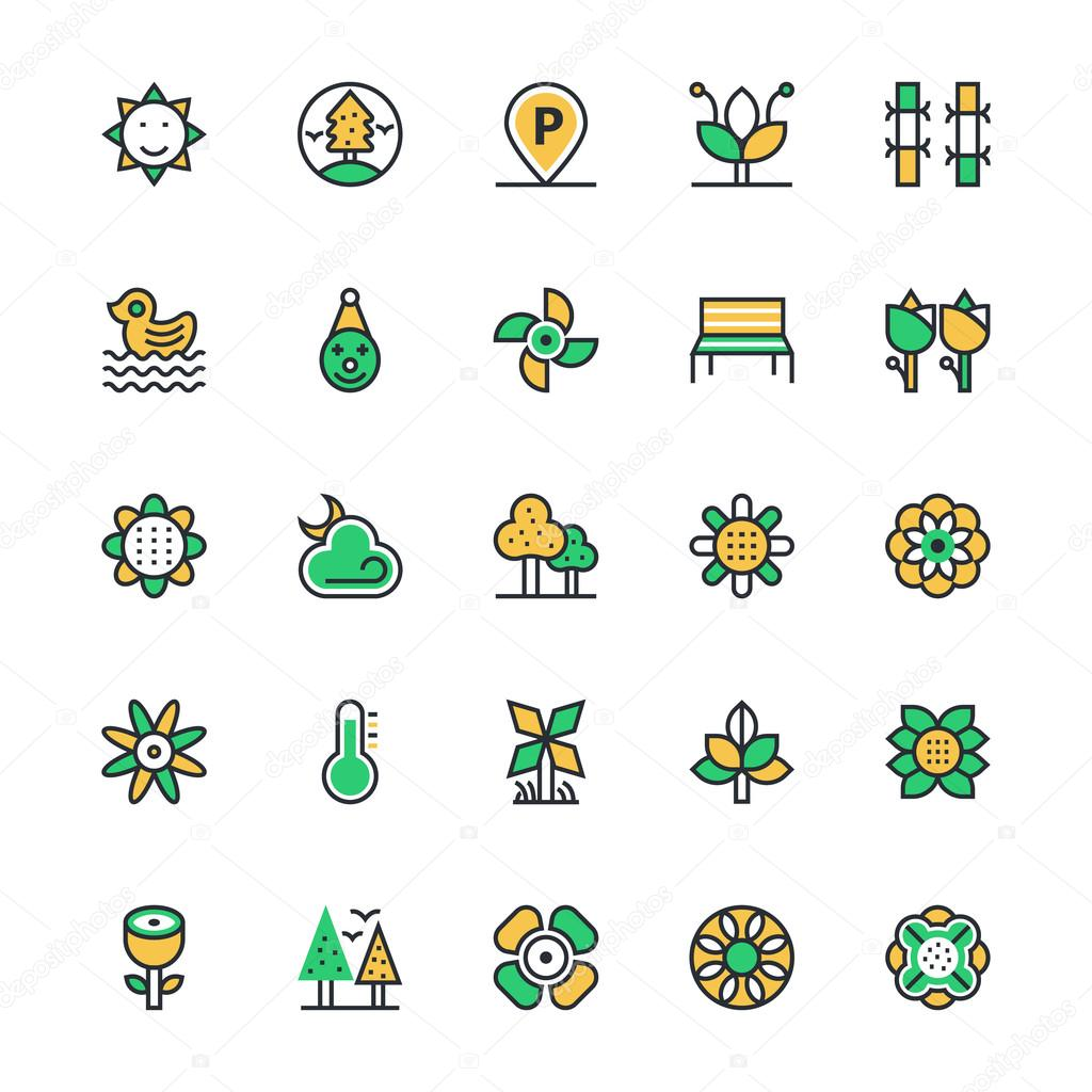 Nature, Park Vector Icons 4