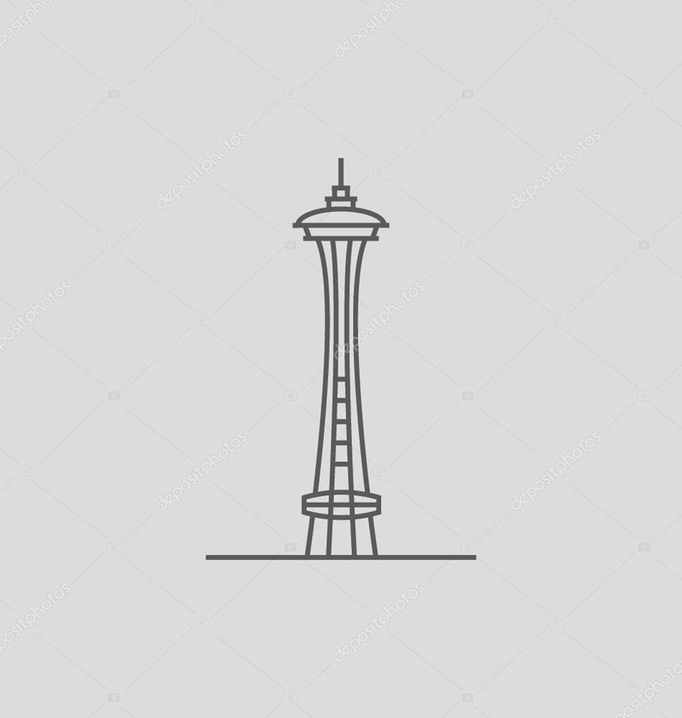 space needle vector illustration stock vector creativestall rh depositphotos com space needle vector free Space Needle Clip Art