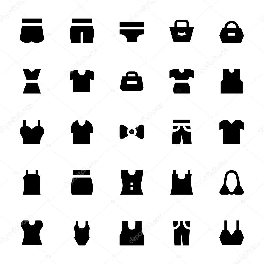 clothes apparel and garments vector icons 3 stock vector