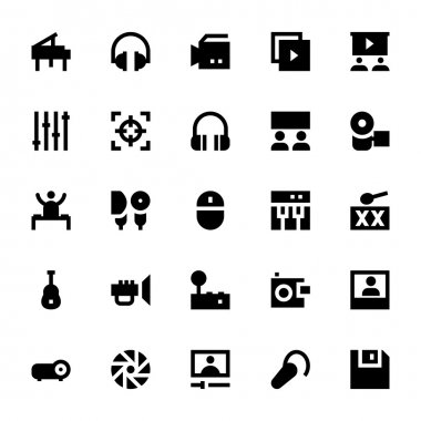 Music, Audio, Video, Cinema and Multimedia Vector Icons 1