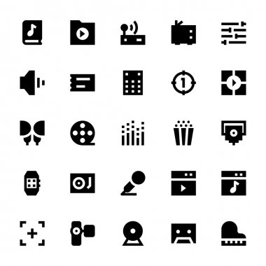 Music, Audio, Video, Cinema and Multimedia Vector Icons 2