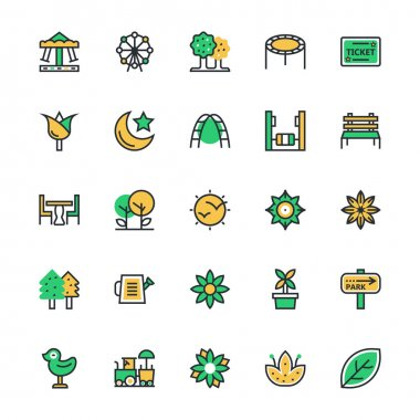 Nature, Park, Plants, Trees Vector Icons 1
