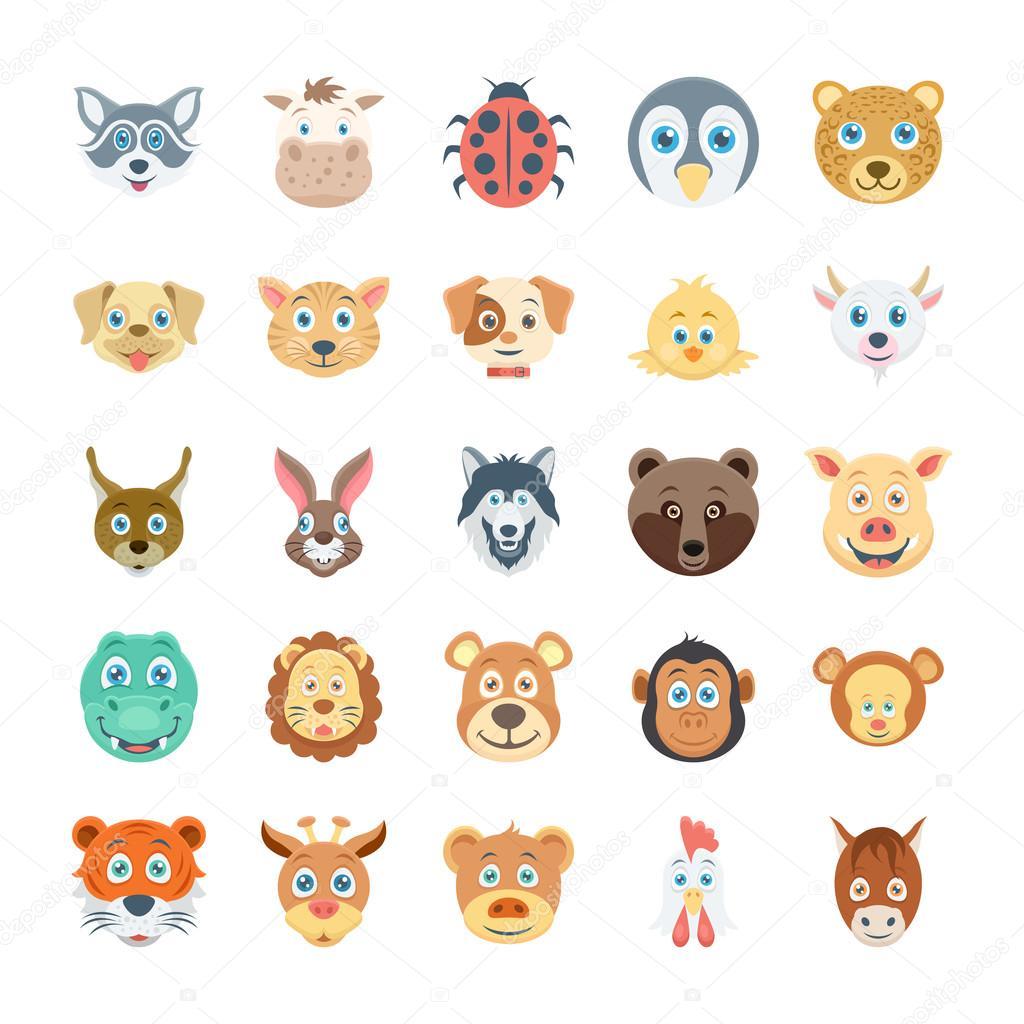 鳥や動物の顔の色ベクトルのアイコン 3 — ストックベクター
