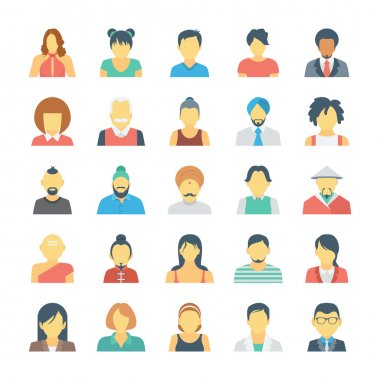 People Avatars Colored Vector Icons 3