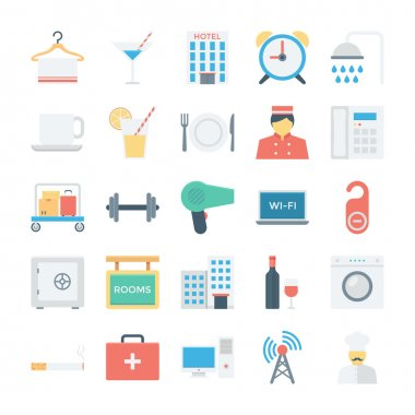 Hotel and Services Colored Vector Icons 2