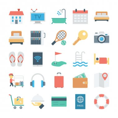 Hotel and Services Colored Vector Icons 1