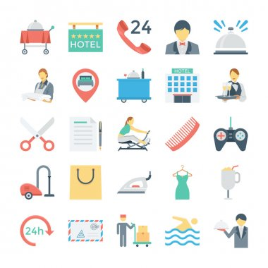 Hotel and Services Colored Vector Icons 3