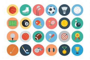 A set of sports vector flat icons. stock vector