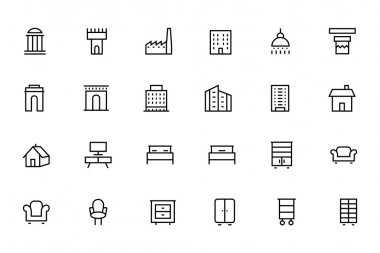 Buildings and Furniture Line Vector Icons 4