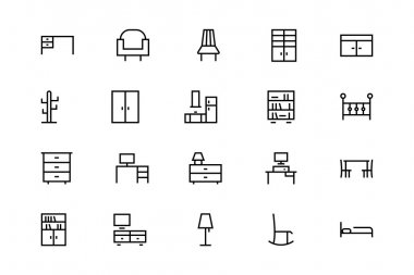 Buildings and Furniture Line Vector Icons 7