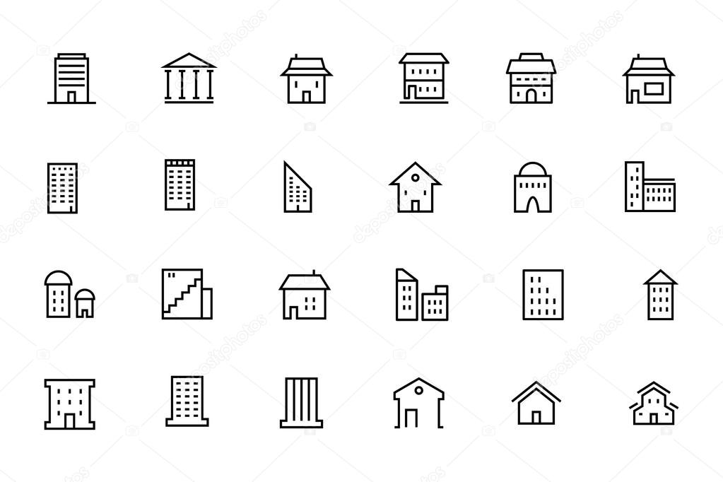Buildings and Furniture Line Vector Icons 3
