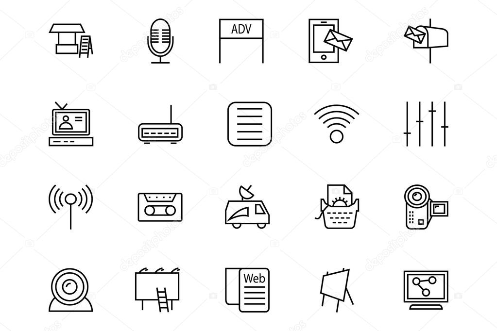 Media and Advertisement Line Icons 4