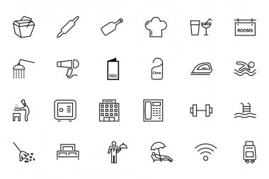 Hotel and Restaurant Line Icons 2