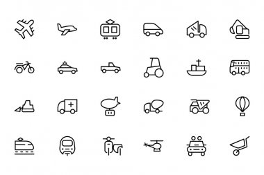 Transport Line Vector Icons 2
