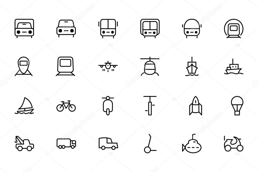 Transport Line Vector Icons 1