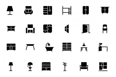 Furniture Vector Solid Icons 2