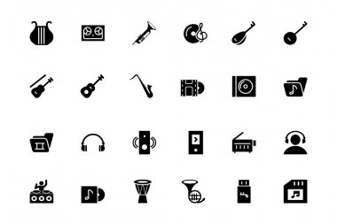 Music Vector Solid Icons 3