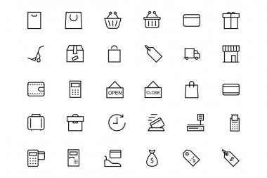 Shopping and Commerce Vector Line Icons 1