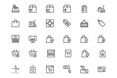 Shopping and commerce Vector Line Icons 2
