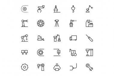 Industrial Processes Vector Line Icons 4