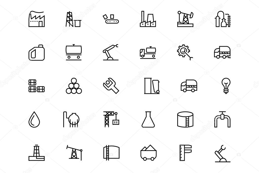 Industrial Processes Vector Line Icons 1