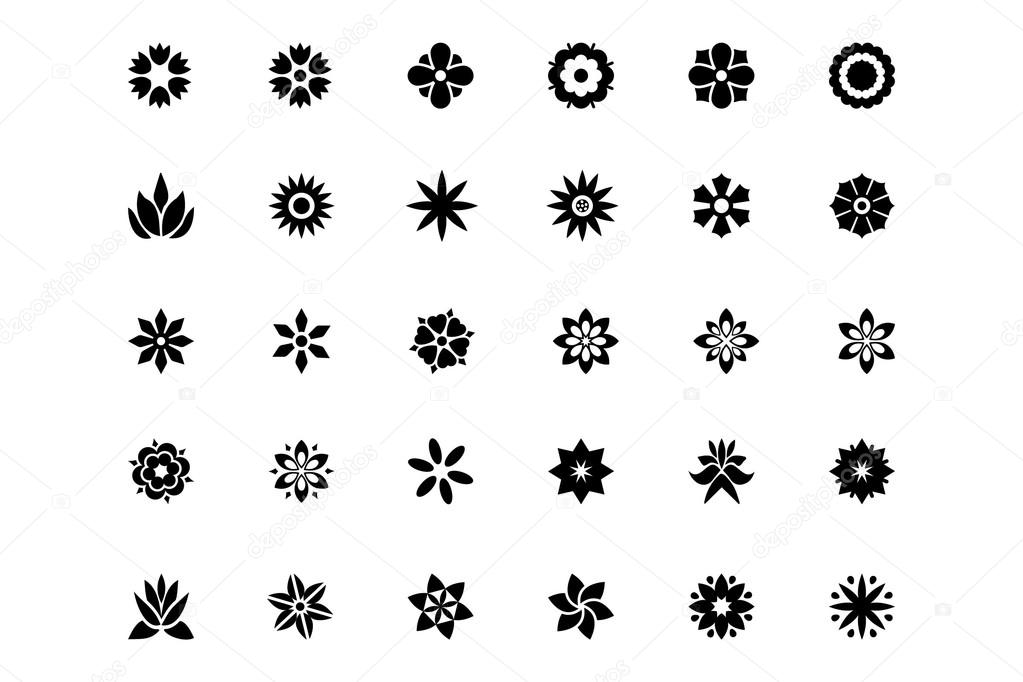 Flowers or Floral Vector Icons 1
