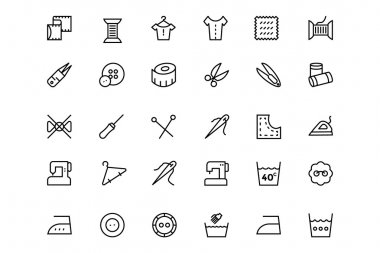 Sewing Line Vector Icons 2