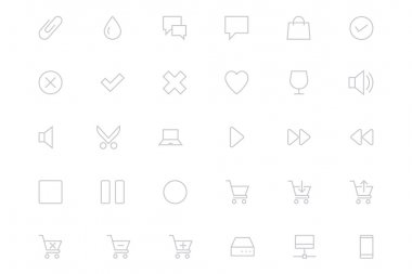 Universal Mobile Vector Line Icons 2