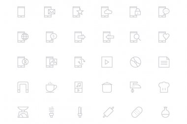 Universal Mobile Vector Line Icons 14