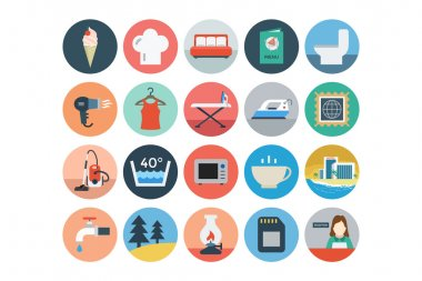 Hotel and Restaurant Flat Colored Icons 4