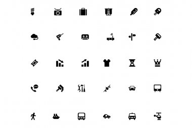 A neat collection of mini icons that you can easily integrate in your design and the cool thing is, that there are so many of them, you will definitely find something you need in here. clip art vector