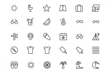 A set of summer and beach vector line icons. clip art vector