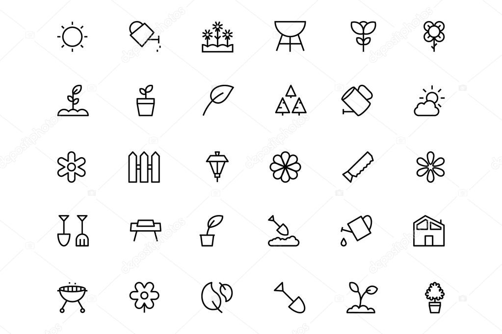 Use these flower pots, garden tools and other garden icons to prune your work and get your designs flourishing. stock vector