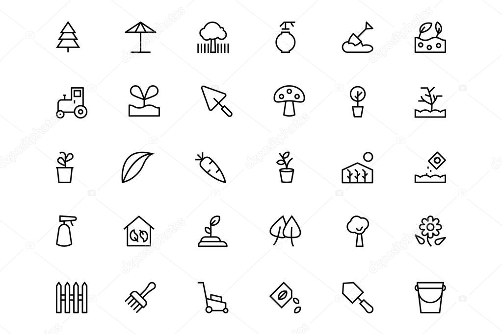 Gardening Line Vector Icons 3