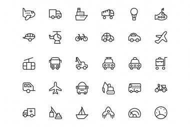 Transportation Vector Line Icons 1